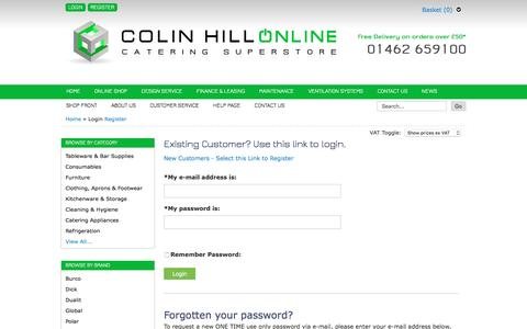 Screenshot of Login Page colinhill.co.uk - Colin Hill Online - Colin Hill Bar and Catering Supplies Ltd - captured Nov. 9, 2016