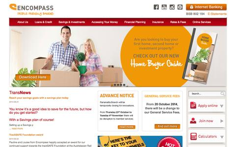 Screenshot of Home Page encompasscu.com.au - Home - Encompass Credit Union, Personal banking for the Transport Industry - captured Oct. 3, 2014