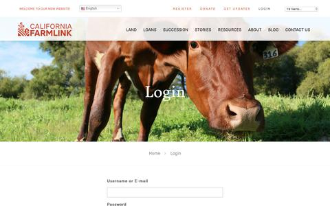 Screenshot of Login Page californiafarmlink.org - Login - California FarmLink - captured July 15, 2018