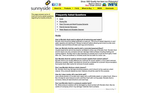 Screenshot of FAQ Page sunnysidecorp.com - Sunnyside Corporation - Frequently Asked Questions - captured Oct. 7, 2014