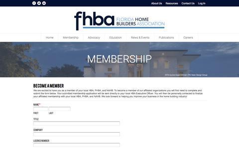 Screenshot of Signup Page fhba.com - Become a Member - FHBA - captured Nov. 25, 2016