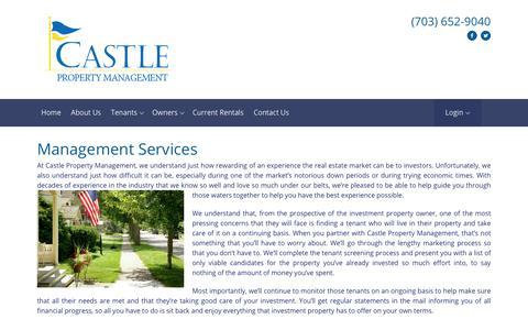 Screenshot of Services Page castlepm.com - Property Management Services - captured July 17, 2017