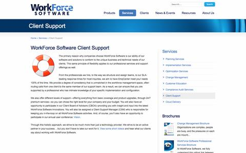 Screenshot of Support Page workforcesoftware.com - Client Support | WorkForce Software - captured Oct. 10, 2014
