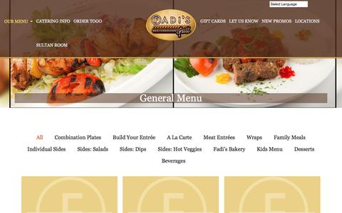 Screenshot of Menu Page fadiscuisine.com - General Menu | Fadiscuisine - captured June 17, 2016