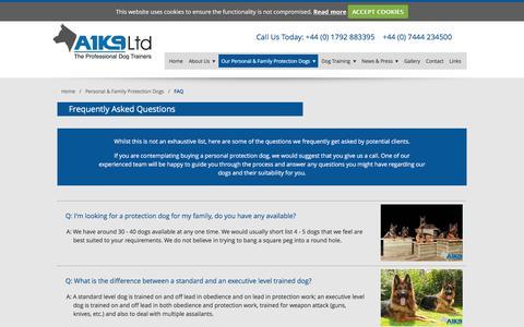 Screenshot of FAQ Page a1k9.co.uk - FAQ   Professional Dog Trainers   Dog Obedience Training - captured Feb. 4, 2016