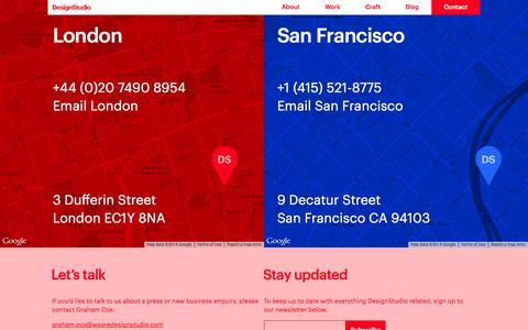 Screenshot of Contact Page wearedesignstudio.com - Contact | Branding and Digital Creative Agency | DesignStudio - captured Oct. 27, 2014