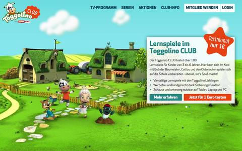 Screenshot of Home Page toggolino.de - Lernspiele fŸr Vorschulkinder - captured Nov. 22, 2015