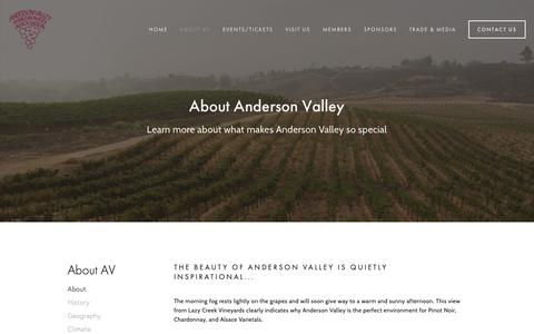 Screenshot of About Page avwines.com - About — Anderson Valley Winegrowers Association - captured Oct. 3, 2018