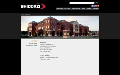 Screenshot of Contact Page ghidorzi.com - Contact the Ghidorzi Companies - captured Oct. 1, 2014
