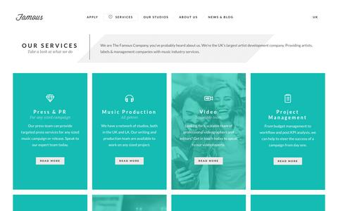 Screenshot of Services Page thefamouscompany.com - Music Services | The Famous Company - captured Sept. 20, 2018