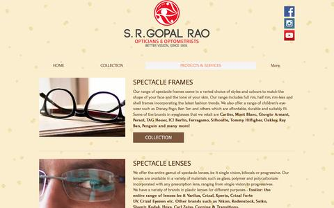 Screenshot of Products Page srgopalrao.co - Widest Range of Lenses,Best brands of Spectacles & Sunglasses - captured May 5, 2017