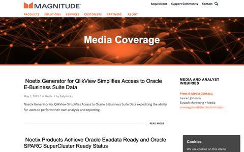 Screenshot of Press Page magnitude.com - Media Coverage | Newsroom | Magnitude Software - captured Oct. 3, 2019