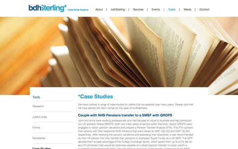 Screenshot of Case Studies Page bdhsterling.com.au - bdhSterling |  Tools  | Case Studies - captured Jan. 7, 2016