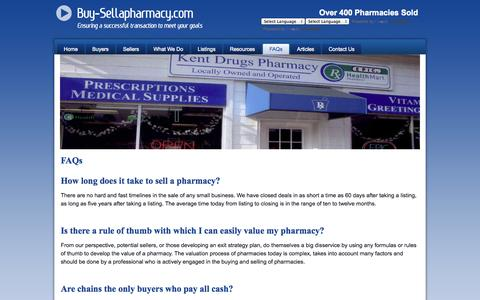 Screenshot of FAQ Page buy-sellapharmacy.com - Buy-SellaPharmacy.com - FAQs - captured Oct. 6, 2014