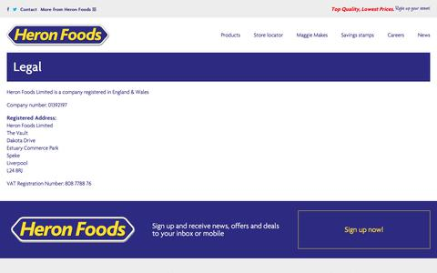 Screenshot of Terms Page heronfoods.com - Our registered address, company and registration number - captured July 19, 2018