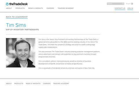 Screenshot of Team Page thetradedesk.com - Tim Sims | The Trade Desk - captured June 22, 2018