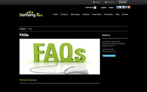 Screenshot of FAQ Page sensingtex.com - FAQs (Coming Soon) - captured Sept. 30, 2014