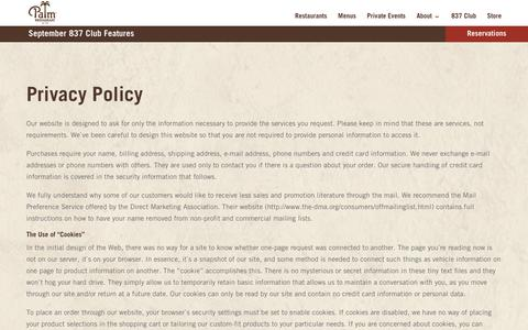 Screenshot of Privacy Page thepalm.com - Privacy Policy - The Palm - captured Sept. 26, 2018