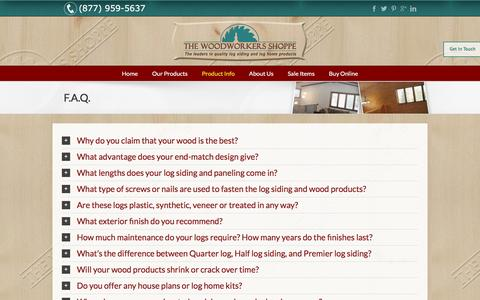 Screenshot of FAQ Page woodworkersshoppe.com - F.A.Q. - Wood Workers Shoppe - captured Feb. 15, 2016