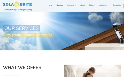 Screenshot of Services Page solabrite.com - Services - Sola-Brite - captured Oct. 27, 2017