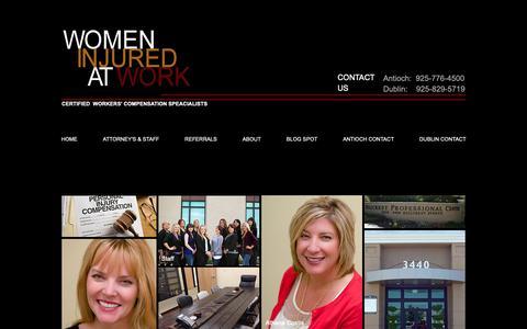 Screenshot of Home Page womeninjuredatwork.com - Women Injured at Work, Workers Compensation - captured Oct. 20, 2018