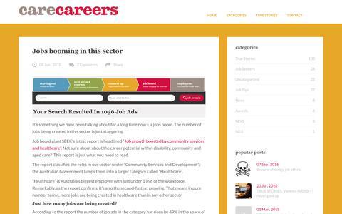 Screenshot of Blog carecareers.com.au - carecareerscare careers | Jobs and careers advice for the care sector – Australia wide - captured July 24, 2018