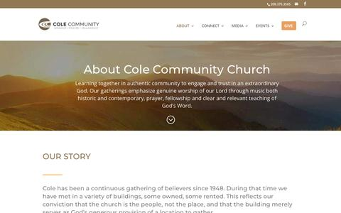 Screenshot of About Page colecommunity.org - About | Cole Community Church - captured Nov. 10, 2018