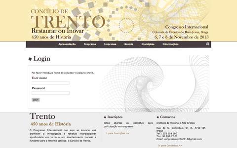 Screenshot of Login Page congressotrento2013.net - Congresso Internacional TRENTO :: LogOn - captured May 23, 2016