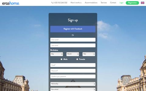 Screenshot of Signup Page Login Page erashome.com - ERASHOME: Foreign students welcome in France and Paris. - captured Oct. 22, 2014