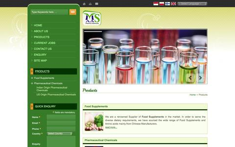 Screenshot of Products Page maaspharmachemicals.com - Pharmaceutical Grade Chemicals,Di-Calcium Phosphate Supplier Delhi - captured Oct. 8, 2014