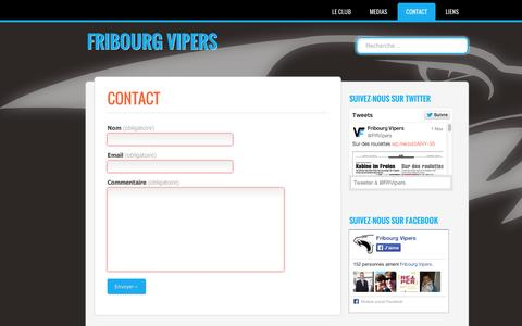Screenshot of Contact Page wordpress.com - Fribourg Vipers | Contact - captured Sept. 12, 2014