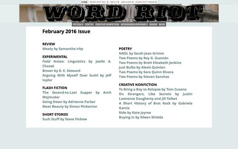 Screenshot of Home Page wordriot.org - February 2016 Issue | Word Riot - captured Feb. 23, 2016