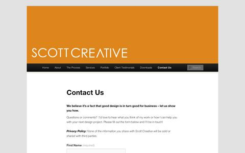 Screenshot of Contact Page wordpress.com - Contact Us   Scott Creative and the On the Grid Blog - captured Sept. 12, 2014