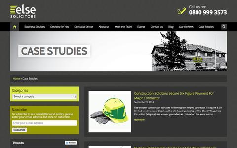 Screenshot of Case Studies Page elselaw.co.uk - Case Studies - Else Solicitors LLP - captured Oct. 2, 2014