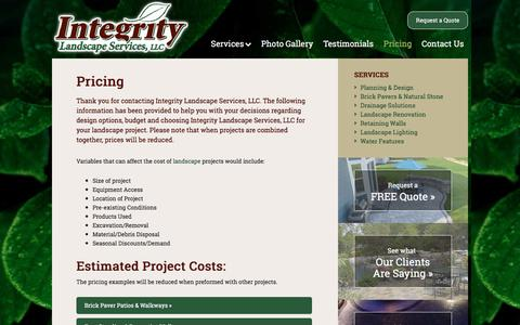Screenshot of Pricing Page integritylandscapeservices.com - Landscaper Wisconsin, Landscape Contractor Wisconsin, Landscape Installer Wisconsin, Landscape Design WI, Lancscape Renovation W, Landscape Lighting | Integrity Landscape Services - captured Nov. 26, 2016