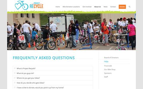 Screenshot of FAQ Page projectrecycle.org - FAQs | Project ReCycle - captured May 23, 2017