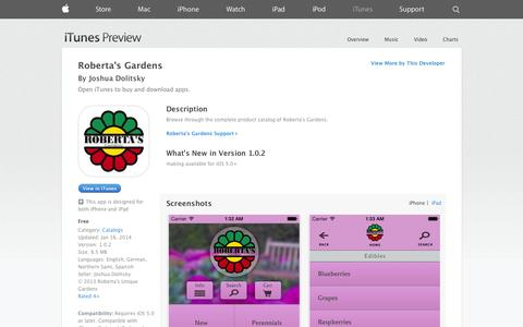 Screenshot of iOS App Page apple.com - Roberta's Gardens on the App Store on iTunes - captured Oct. 26, 2014
