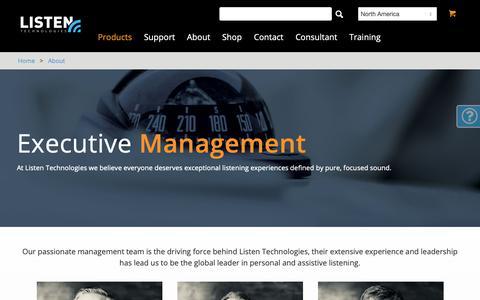 Screenshot of Team Page listentech.com - Management - Listen Technologies - captured Sept. 27, 2018