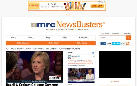 Screenshot of Home Page newsbusters.org - NewsBusters - captured Nov. 11, 2015