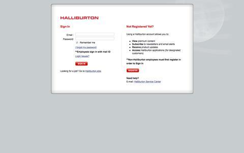 Screenshot of Login Page halliburton.com - Sign In - Halliburton - captured Jan. 22, 2020