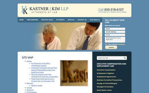 Screenshot of Site Map Page kastnerkim.com - Site Map   Kastner Kim LLP   Palo Alto - captured Oct. 6, 2014