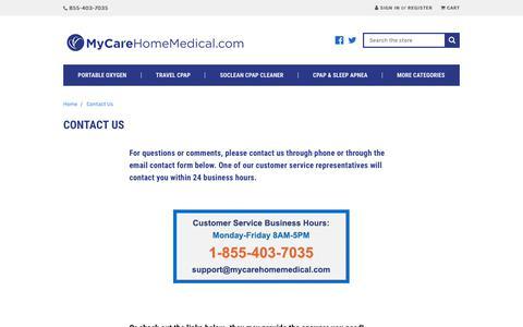 Screenshot of Contact Page mycarehomemedical.com - Contact Us Medical Supply Company | Medical Equipment & Supplies - captured Feb. 19, 2020