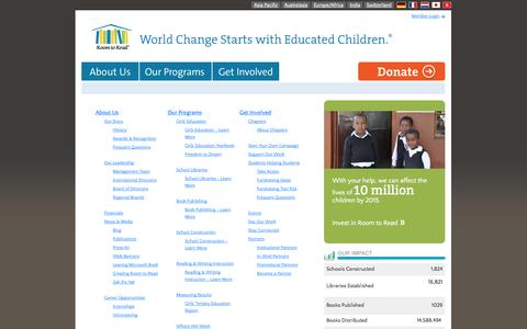 Screenshot of Site Map Page roomtoread.org - Room to Read - captured Oct. 26, 2014