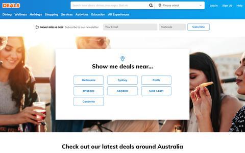 Screenshot of Home Page deals.com.au - Australia Deals - Discount Hotels, Restaurant Deals & More | DEALS - captured Nov. 7, 2018
