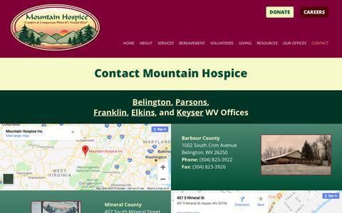 Screenshot of Contact Page mountainhospice.com - Contact Us -Mountain Hospice | Belington, WV - captured Sept. 21, 2018