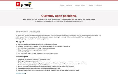 Screenshot of Jobs Page x1group.com - X1 Group | Where startups finally meet developers - captured Sept. 30, 2014