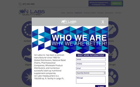 Screenshot of Products Page ionlabs.com - Ion Labs Product Categories - captured Oct. 15, 2017