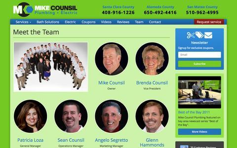 Screenshot of Team Page mcplumbing.com - Mike Counsil Plumbing - captured Nov. 4, 2014