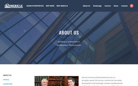 Screenshot of About Page mericle.com - ​About Us | Mericle Commercial Real Estate Services - captured Oct. 17, 2018