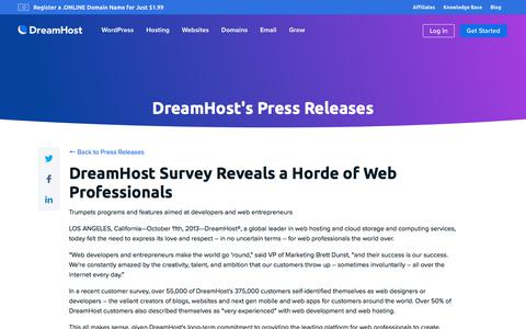 Screenshot of Press Page dreamhost.com - DreamHost Survey Reveals a Horde of Web Professionals  – DreamHost - captured Feb. 21, 2020